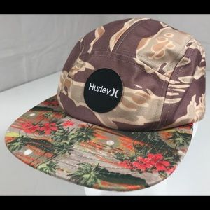 Hurley 5 Panel strapback hat camp Hawaiian floral